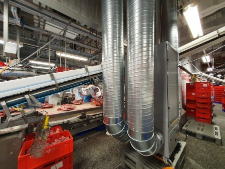 Meat processing giant, Tönnies Group, is using high efficiency air cleaners from Camfil as part of the pandemic prevention scheme