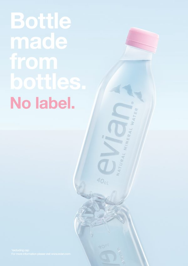 evian introduces new label free, 100% recycled, 100% recyclable bottle for a sustainable future